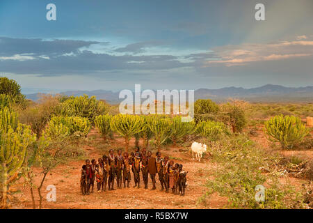 Hamer Dancers, Omo Valley, Ethiopia - Stock Photo