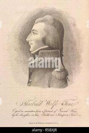 Theobald Wolfe Tone. Life of Theobald Wolfe Tone ... Written by himself. Gales & Seaton: Washington, 1826. Theobald Wolfe Tone (1763-1798). Irish nationalist. Involved in a French expedition to Ireland, he was captured and condemned to be hanged as a traitor, but cut his throat in prison. Portrait.  Image taken from Life of Theobald Wolfe Tone Written by himself, and continued by his son; with his political writings and fragments of his diary. Narrative of his trial, defence before the Court Martial, and death. Edited by his son, William Theobald Wolfe Tone.  Originally published/produced in G - Stock Photo