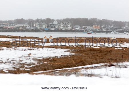 Scituate, Massachusetts, USA - January 7, 2009: A first glance suggests a couple is relaxing in adjoining bathtubs on a cold winter day - Stock Photo