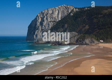 Spain, Basque Country Region, Vizcaya Province, Cabo Ogono, beach and landscape on the Bay of Biscay - Stock Photo