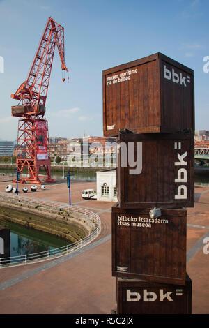 Spain, Basque Country Region, Vizcaya Province, Bilbao, Museo Maritimo Ria de Bilbao, maritime museum, cargo crane - Stock Photo