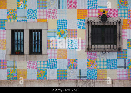 Spain, Cantabria Region, Cantabria Province, Santander, colorful port building - Stock Photo