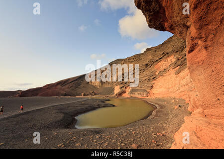 Spain, Canary Islands, Lanzarote, El Golfo, Charco de los Clicos (Green Lagoon) - Stock Photo