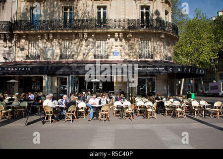 Cafe on Place de la Bastille, Paris, France - Stock Photo