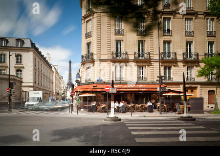 Eiffel Tower & Cafe on Boulevard de La Tour Maubourg, Paris, France - Stock Photo