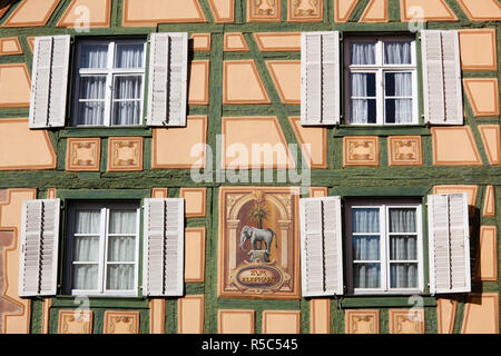 France, Haut-Rhin, Alsace Region, Alasatian Wine Route, Ribeauville, building detail - Stock Photo