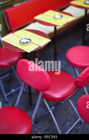France, Paris, Left Bank, cafe tables, rue de Buci - Stock Photo