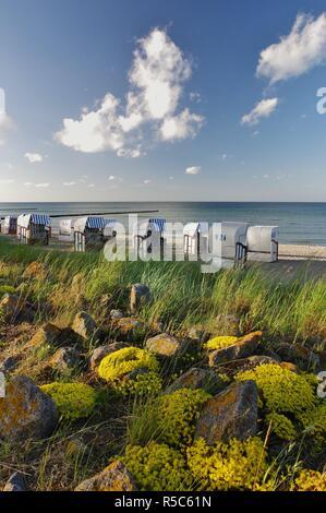 beach chairs on the beach of boltenhagen,district redewisch,baltic sea,nordwestmecklenburg,northern germany - Stock Photo