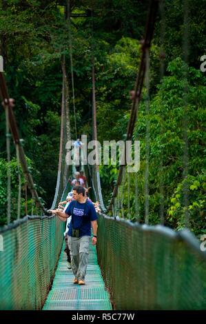 Costa Rica, La Virgen de Sarapiqui, Tour Guide, Tourists, Tirimbina Biological Reserve, Suspension Bridge, Rain Forest - Stock Photo