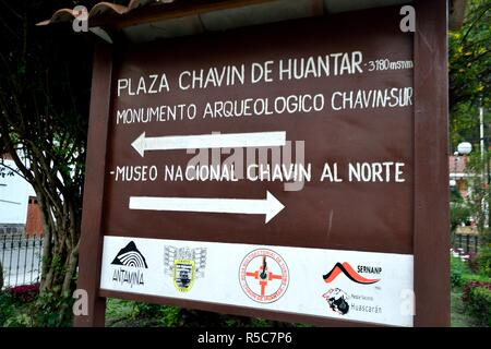 Archeological site sign in CHAVIN de Huantar. Department of Ancash.PERU                   - Stock Photo