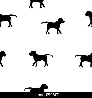 Seamless animals pattern dogs black silhouette isolated on white background. Pet drawn simple print kid style. Cute small outline puppy backdrop - Stock Photo