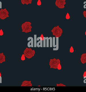 Abstract seamless pattern small red roses flowers and blood drops on black background. Halloween illustration ornament concept life and death - Stock Photo
