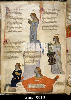 Miniature of Four Muses: Clio (history), Melpomene (tragedy), Euterpe (music) and Thalia (comedy). Address in verse to Robert of Anjou, King of Naples, from the town of Prato in Tuscany (the 'Regia Carmina'). Italy, Central (Tuscany); c. 1335-c. 1340. Source: Royal 6 E. IX, f.29v. Language: Latin. - Stock Photo