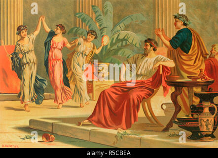 Ancient Greece. Dances after a banquet or simposium. Drawing by Dionisio Baixeras (1862-1943). Chromolithography. La Civilizacion (The Civilization), volume II, 1881. - Stock Photo