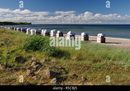 cliff,baltic sea,groynes and beach chairs on the beach of boltenhagen,orsteil redewisch,nordwestmecklenburg,northern germany - Stock Photo