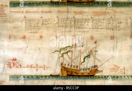 'The Anne Gallante'. Roll of the Galleys of Henry VIII. England; 1546. [2nd ship on roll] 'The Anne Gallante', with details of her crew  Image taken from Roll of the Galleys of Henry VIII.  Originally published/produced in England; 1546. . Source: Add. 22047,. Language: English. - Stock Photo