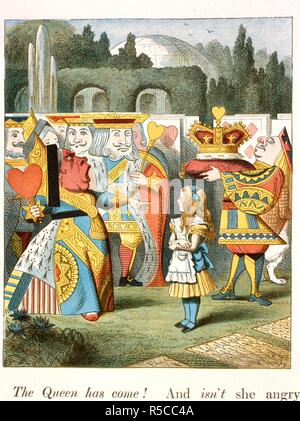 The angry Queen. The Queen of Hearts. . The Nursery :Alice,: containing twenty coloured en. Macmillan & Co.: London, 1890. Source: Cup.410.g.74, 44. Language: English. Author: TENNIEL, JOHN. Carroll, Lewis pseud. [i. e. Charles Lutwidge Dodgson]. - Stock Photo
