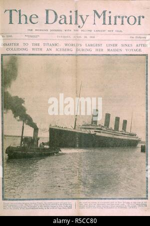 The Titanic disaster. The Daily Mirror. London, April 16, 1912. Disaster to the Titanic: World's largest liner sinks after colliding with an iceberg during her maiden voyage'.  Image taken from The Daily Mirror.  Originally published/produced in London, April 16, 1912. . Source: Colindale, No. 2,645 front page. Language: English. - Stock Photo