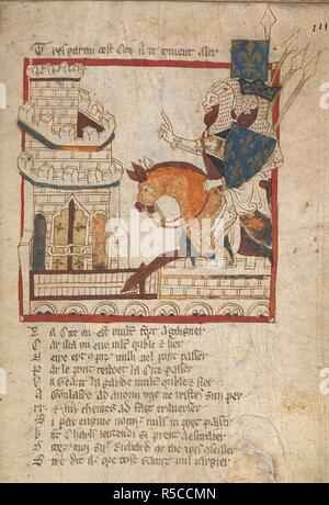 Charlemagne rides with Richard to Aigremore. . ROMANCES in French verse ... 14th century. Source: Egerton 3028 f.111. Author: Wace, Canon of Bayeux. - Stock Photo