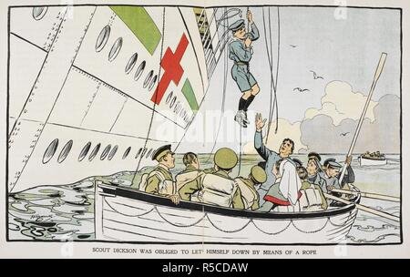 'Scout Dickson was obliged to let himself down by means of a rope'. After the 'Britannic' hospital ship was struck by a torpedo, a number of boy scouts remained on board to help the other passengers. Scout Dickson was one of the last people to leave the ship as it was sinking. Brave Boys and Girls in Wartime. True stories. London : Blackie & Son, [1918]. First World War. Source: 12802.dd.8 page. Author: Lea, John. - Stock Photo