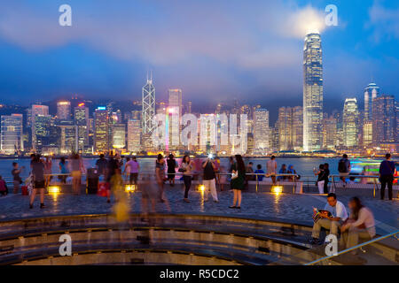 Hong Kong skyline at dusk, Central business and financial district, Bank of China building, Hong Kong Island, China - Stock Photo