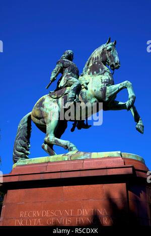 Bronze Equestrian Monument of Ferenc II Rakoczi, Prince of Transylvania, Hungarian Parliament Building, Budapest, Hungary - Stock Photo