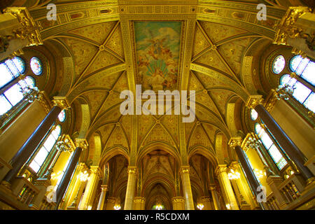 Grand Stairwell, Hungarian Parliament Building, Budapest, Hungary - Stock Photo