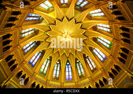 Central Hall Ceiling, Hungarian Parliament Building, Budapest, Hungary, - Stock Photo
