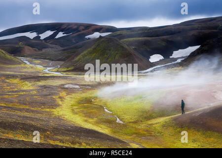 Steam vents, Rhiolite Mountains, Landmannalaugar, Iceland - Stock Photo