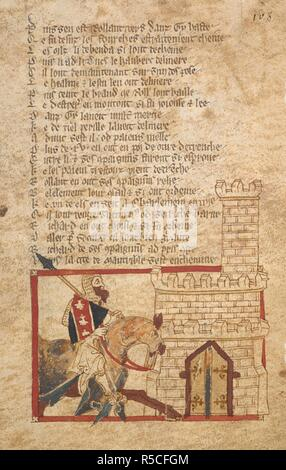 Richard of Normandy rides for help. ROMANCES in French verse ... 14th century. Source: Egerton 3028 f.108. Author: Wace, Canon of Bayeux. - Stock Photo