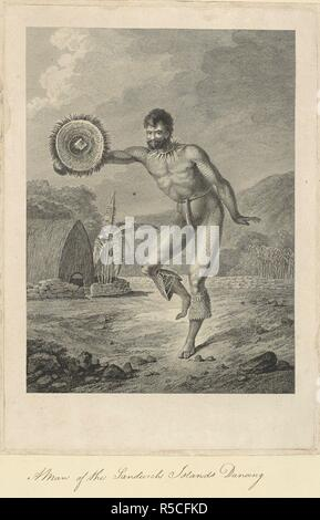 A man of the Sandwich Islands dancing. Drawn by John Webber and engraved by Charles Grignion. A scene in Hawaii in 1778. A man with tattooed legs and arms is holding a circular feather-edged shield in his right hand. Around his neck is seaweed and he has dog's teeth leggings attached below his knees. He is dancing. In the background is part of a house, with a low stone wall and a banana palm. A collection of drawings by A. Buchan, S. Parkinson, and J. F. Miller, made in the Countries visited by Captain James Cook in his First Voyage [1768-1771], also of prints published in John Hawksworth's Vo - Stock Photo