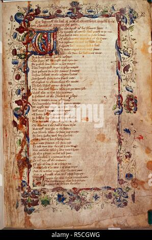 [Whole folio] Beginning of the Prologue to the Canterbury Tales. Canterbury Tales. England; circa 1450-1460. Source: Harley 1758, f.1. Language: English. Author: CHAUCER, GEOFFREY. - Stock Photo