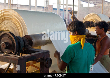 Newly dyed fabric being washed and rolled, Sari garment factory, Rajasthan, India, (MR/PR) - Stock Photo