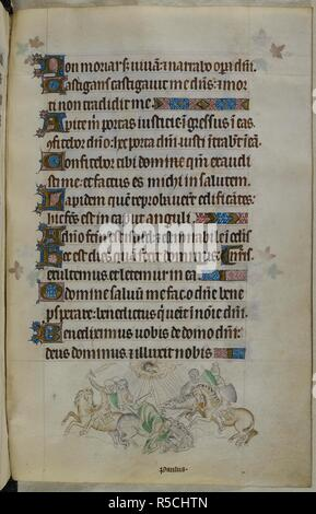 Bas-de-page scene of Paul being struck from his horse and blinded by lightning whilst en route to take letters to Damascus, as requested by the High Priest, with soldiers and horses rearing on either side. Psalter ('The Queen Mary Psalter'). England (London/Westminster or East Anglia?); between 1310 and 1320. Source: Royal 2 B. VII, f.241. Language: Latin, with French image captions. - Stock Photo