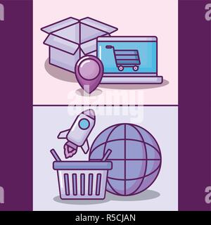 laptop computer with electronic business icons vector illustration design - Stock Photo