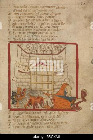 Estragot crushed by the portcullis. ROMANCES in French verse ... 14th century. Source: Egerton 3028 f.75. Author: Wace, Canon of Bayeux. - Stock Photo