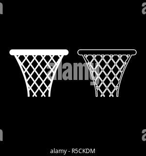 Basketball basket Streetball net basket icon set white color vector I flat style simple image - Stock Photo