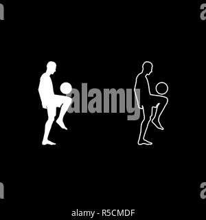 Soccer player juggling ball with his knee or stuffs the ball on his foot silhouette icon set white color vector I flat style simple image - Stock Photo
