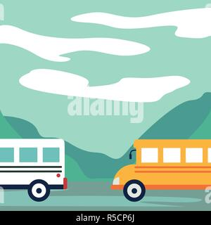 Cars, buses on the road, recreation area, lake in isometry - Stock Photo