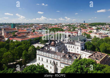 Lithuania, Vilnius, elevated view of Royal Palace from Gediminas Hill - Stock Photo