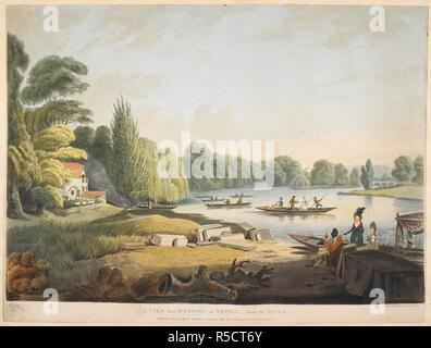 A small cottage, trees, grass, piles of wood and rocks on the left; a river to the right; figures boating; trees in the distance. A VIEW from HAMPTON on THAMES, - down the RIVER. [London] : Published June 30, 1796, by John Harris Sweetings Alley, Royal Exchange & No8 Old Broad Street., [June 30 1796]. Aquatint and etching with hand-colouring. Source: Maps K.Top.29.14.x. Language: English. Author: Edy, John William. - Stock Photo