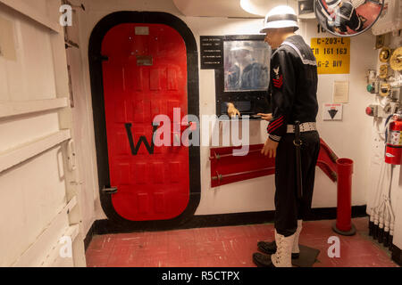 Entrance to ship's armory (on board Marines had a separate armory), USS Midway Museum, San Diego, California, United States. - Stock Photo