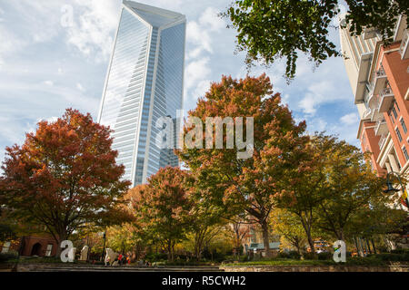 CHARLOTTE, NC - November 25, 2016:  View of the Duke Energy Center from The Green, an urban park in uptown Charlotte, North Carolina. - Stock Photo