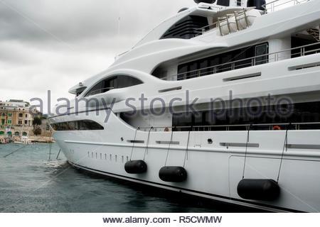 Luxury super yacht moored at Manoel Island, Malta - Stock Photo