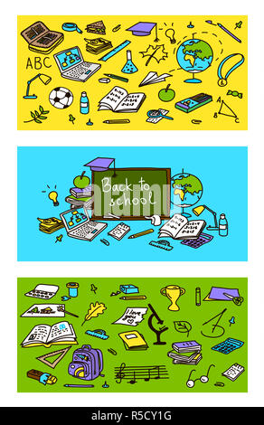 Back to school, hand drawn 3 in 1 set. Colored sketch, doodle, vector. school pack objects. - Stock Photo