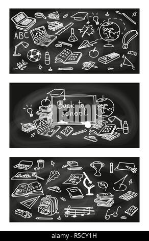 Back to school, hand drawn 3 in 1 set. sketch, doodle, vector. Black Chalk board style. - Stock Photo