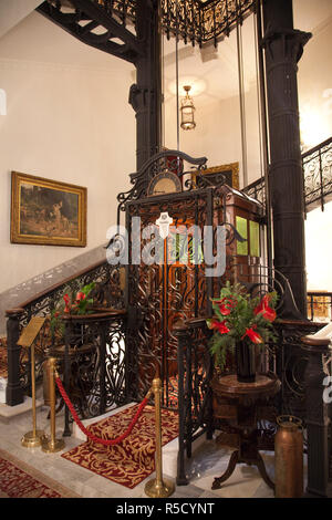 Historic lift, Pera Palace hotel, Beyoglu area, Istanbul, Turkey - Stock Photo