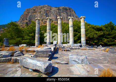 Temple of Athena, Ancient City of Priene, Turkey - Stock Photo