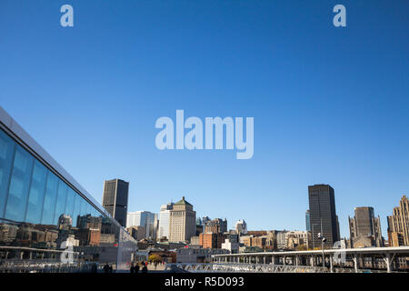 MONTREAL, CANADA - NOVEMBER 4, 2018: Montreal skyline, with iconic buildings of old Montreal like Royal Bank Tower and the business skyscrapers taken  - Stock Photo