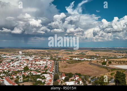 City and fields around Elvas - Stock Photo